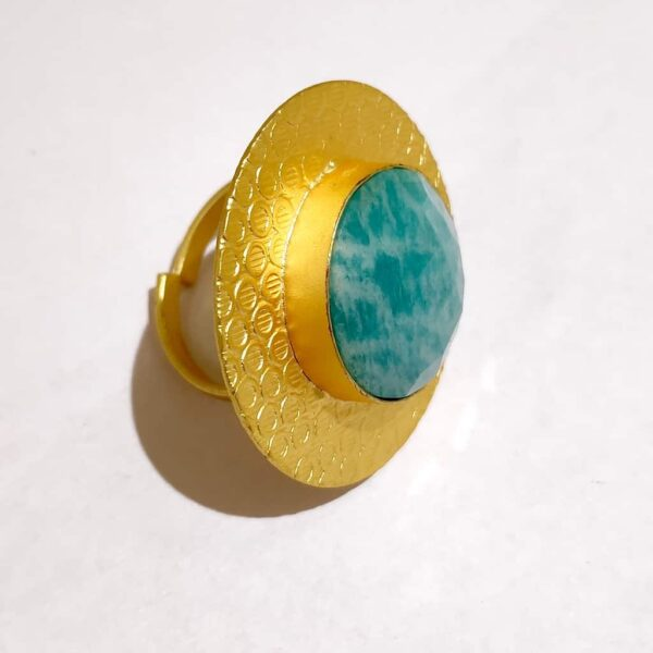 Circular Textured Ocean Amazonite Blue Ring Gold Plated Side