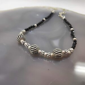 Black Spinel Silver Anklet Rakhi