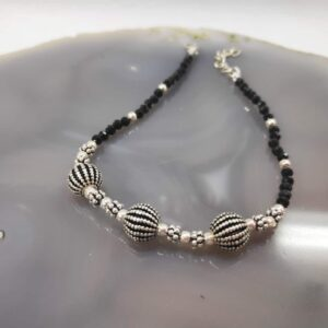 Black Spinel Silver Anklet Rakhi Side