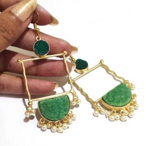 Green Drusy Golden Frame Fashion Earring with Pearl Fringe in Hand Closeup