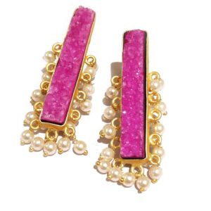 Pink Drusy Gold Plated Long Fashion Studs with Pearl Fringe