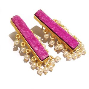 Pink Drusy Gold Plated Long Fashion Studs with Pearl Fringe Side