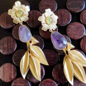 Floral Amethyst Leafy Gold Plated Gold Plated Earrings