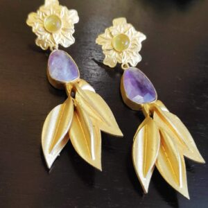 Floral Amethyst Leafy Gold Plated Gold Plated Earrings Side