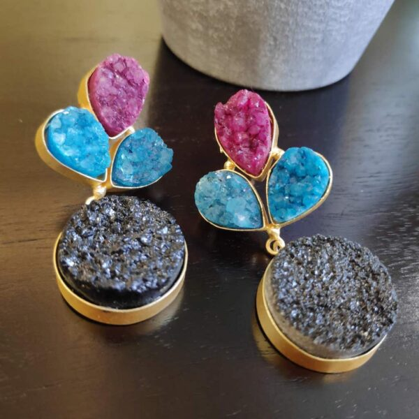 Multi-color Drusy Gold Plated Fashion Dangler Earrings