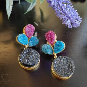 Multi-color Drusy Gold Plated Fashion Dangler Earrings Closeup