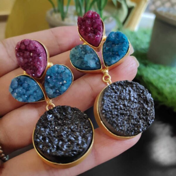 Multi-color Drusy Gold Plated Fashion Dangler Earrings in Hands 1