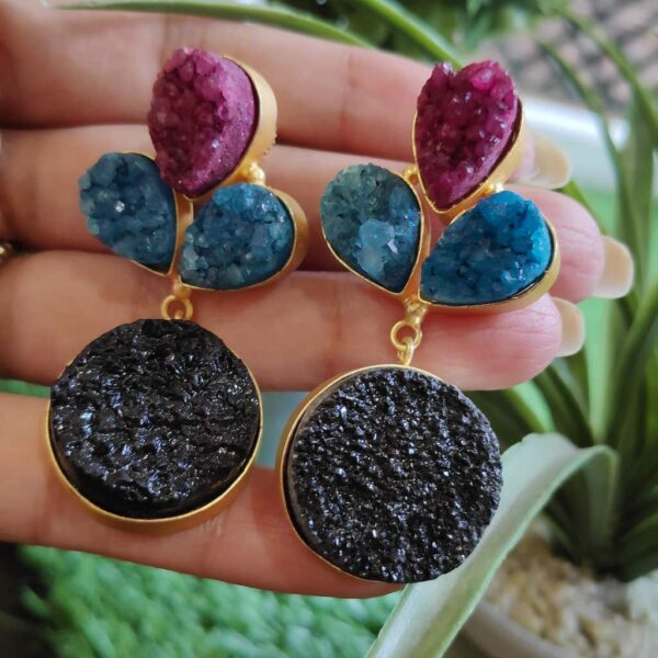 Multi-color Drusy Gold Plated Fashion Dangler Earrings in Hands