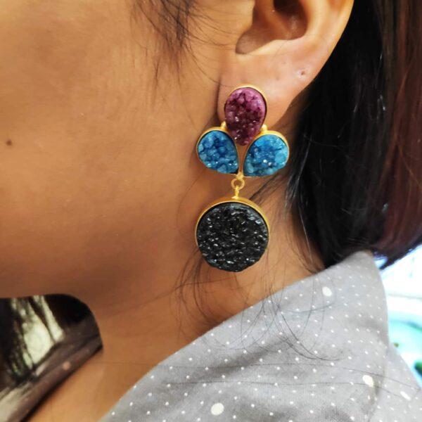 Multi-color Drusy Gold Plated Fashion Dangler Earrings on Ears
