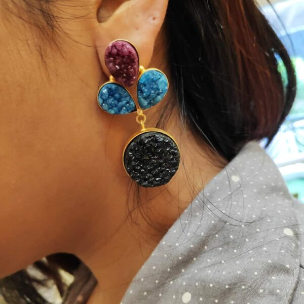Multi-color Drusy Gold Plated Fashion Dangler Earrings Styling on Ears