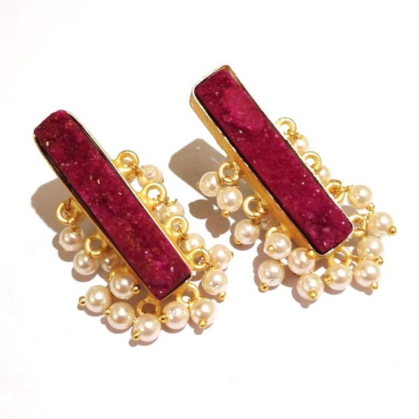 Maroon Red Drusy Gold Plated Fashion Studs with Pearl Fringe