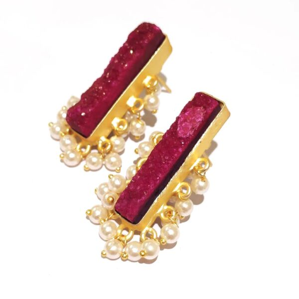 Maroon Red Drusy Gold Plated Fashion Studs with Pearl Fringe Side