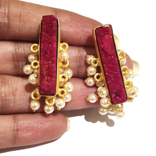 Maroon Red Drusy Gold Plated Fashion Studs with Pearl Fringe in Hands Closeup