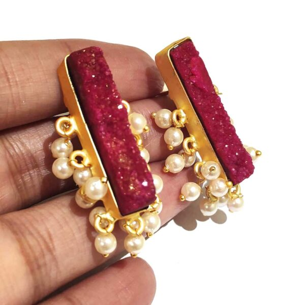 Maroon Red Drusy Gold Plated Fashion Studs with Pearl Fringe in Hands