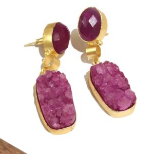 Magenta Sugar Crush Druzy Dangle Gold Plated Earrings