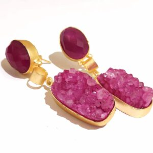 Magenta Sugar Crush Druzy Dangle Gold Plated Earrings Closeup