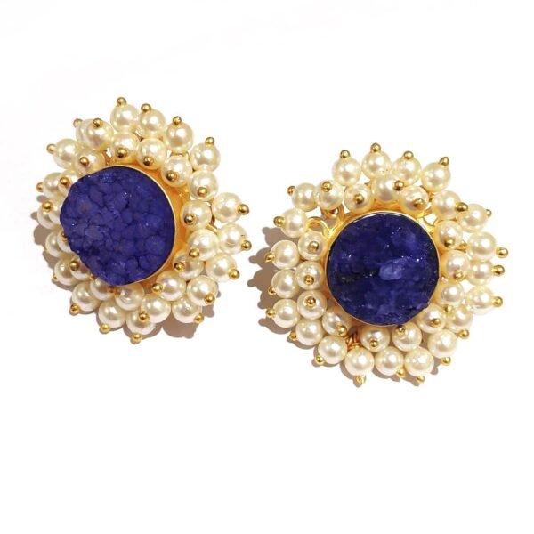 Round Blue Drusy Stud Fashion Earrings with Pearl Fringe Halo