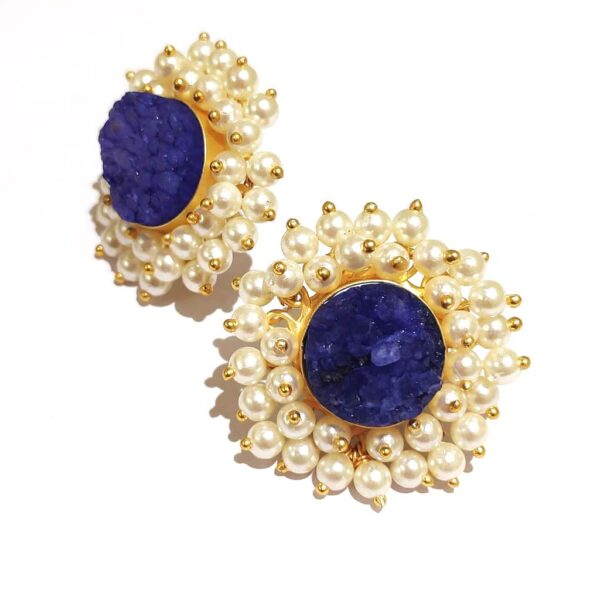 Round Blue Drusy Stud Fashion Earrings with Pearl Fringe Halo Side