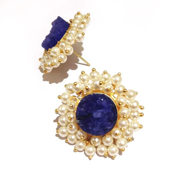 Round Blue Drusy Stud Fashion Earrings with Pearl Fringe Halo Side1