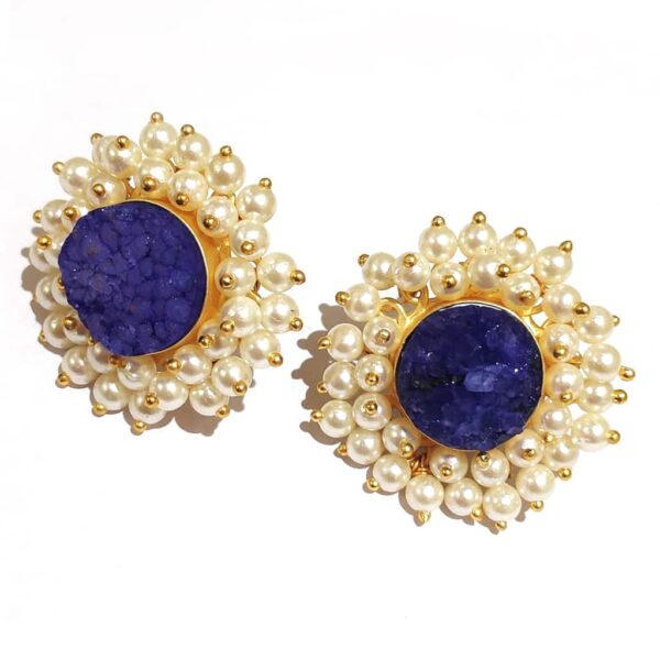 Round Blue Drusy Stud Fashion Earrings with Pearl Fringe Halo Side2
