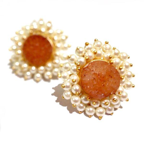 Round Orange Drusy Stud Fashion Earrings with Pearl Fringe Halo Closeup