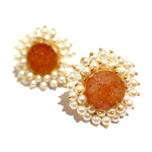 Round Orange Drusy Stud Fashion Earrings with Pearl Fringe Halo Side2