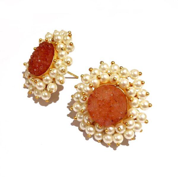 Round Orange Drusy Stud Fashion Earrings with Pearl Fringe Halo Side