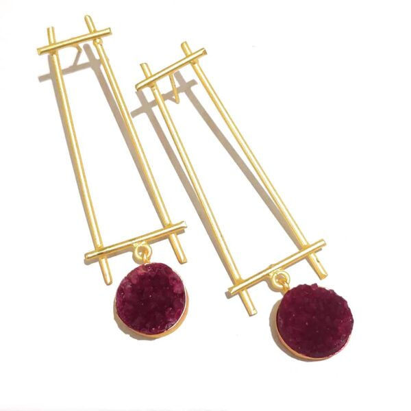 Minimal Fashion Earrings Red Druzy Hanging with Gold Plating
