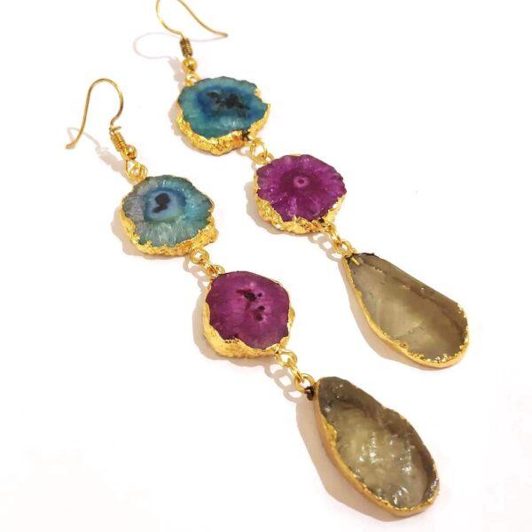 Multi color Long Dangling Fish Hook Golden Fashion Earrings
