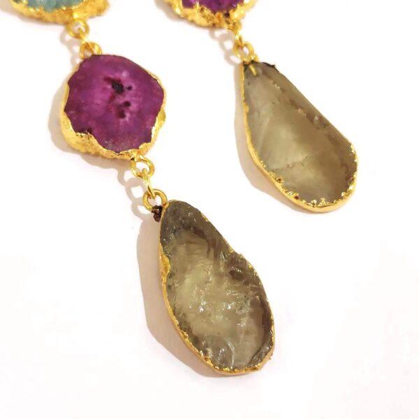 Multi color Long Dangling Fish Hook Golden Fashion Earrings Closeup