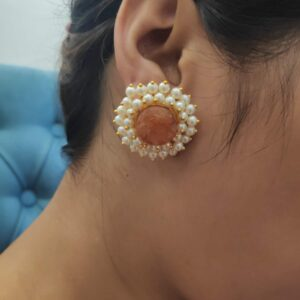 Round Orange Drusy Stud Earrings with Pearl Fringe Halo Body