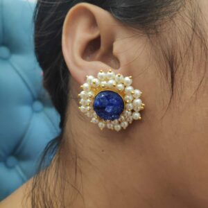 Round Purple Drusy Stud Fashion Earrings with Pearl Fringe Halo Body