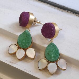 Pink and Green Floral Drusy Earrings with Shell Pearl Petals