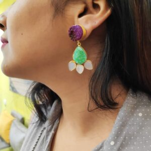 Pink and Green Floral Drusy Earrings with Shell Pearl Petals on Ears