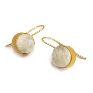 Opaque White Quartz Gold Plated Hook Earrings