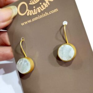 Opaque White Quartz Gold Plated Hook Earrings Side