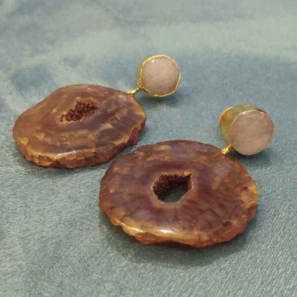 Chocolate Donut Brown Agate Dangler Earrings with White Top Side