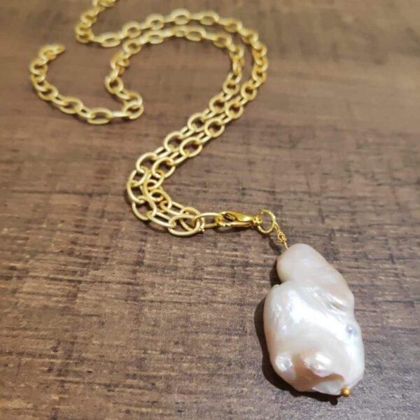 Baroque Pearl Chain and Charm Long Necklace cum Bracelet Side