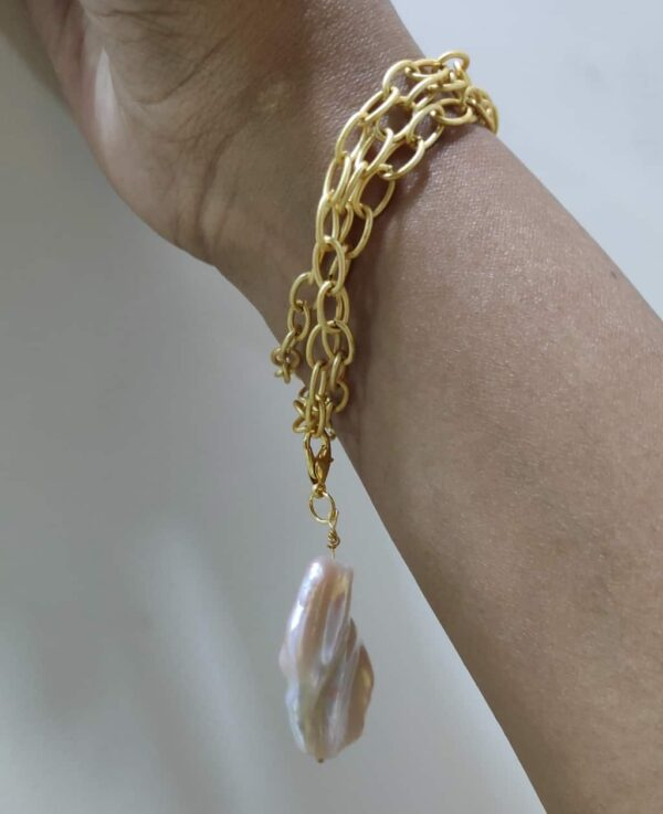 Baroque Pearl Chain and Charm Long Necklace cum Bracelet on Hand
