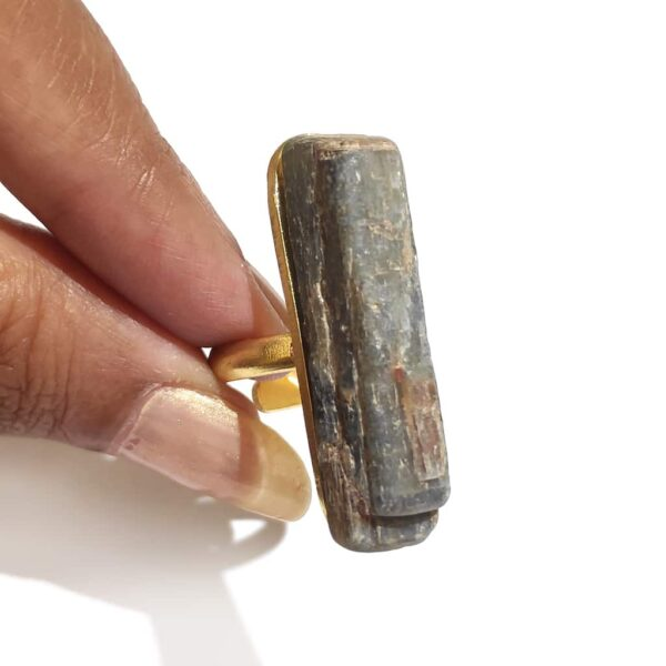 Gold Plated Raw Grey Agate Long Statement Ring