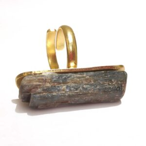 Gold Plated Raw Grey Agate Long Statement Ring Side