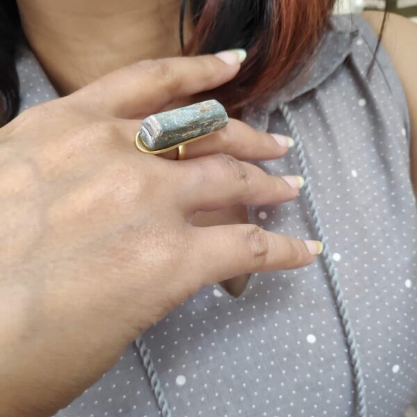 Gold Plated Raw Grey Agate Long Statement Ring Body1