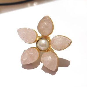Pastel Rose Quartz Pink Wildflower Gold Plated Cocktail Ring