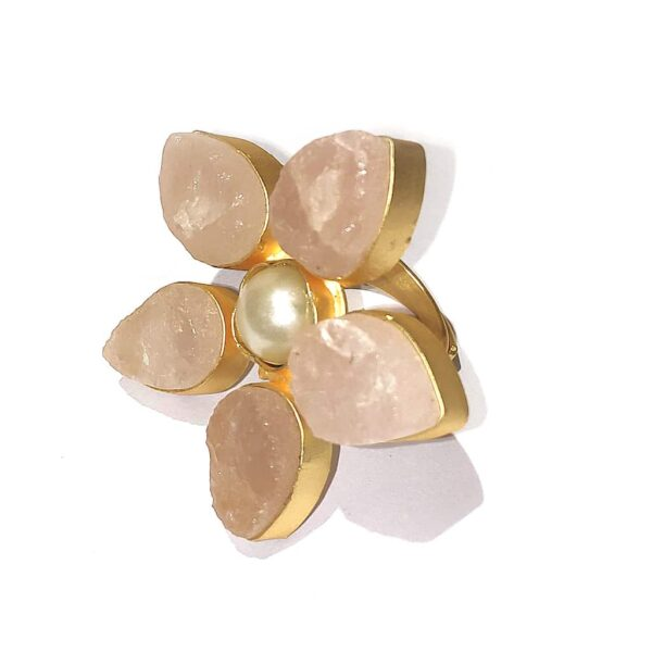 Pastel Rose Quartz Pink Wildflower Gold Plated Cocktail Ring Side1