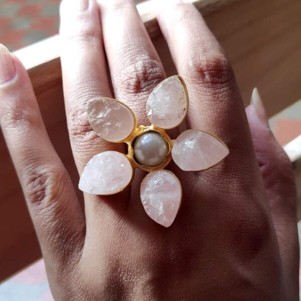Pastel Rose Quartz Pink Wildflower Gold Plated Cocktail Ring on Hand