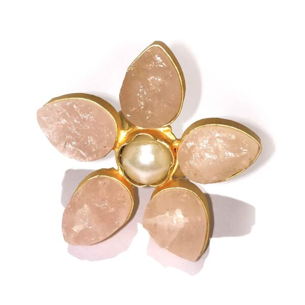 Pastel Rose Quartz Pink Wildflower Gold Plated Cocktail Ring Side
