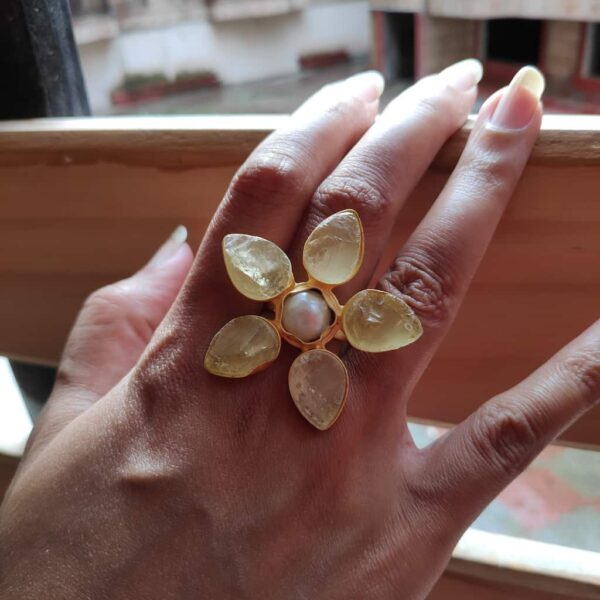 Pastel Yellow Quartz Wildflower Gold Plated Cocktail Ring on Hand
