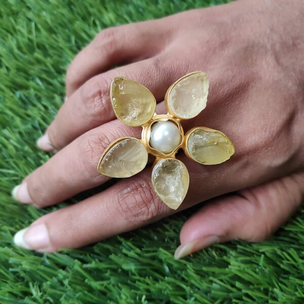 Pastel Yellow Quartz Wildflower Gold Plated Cocktail Ring on Hand1