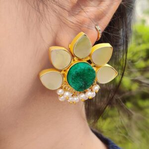 Lotus Stud Fashion Earring with Druzy and Shell Pearl Lifestyle