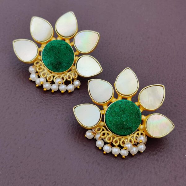 Lotus Stud Fashion Earring with Druzy and Shell Pearl Lifestyle 2